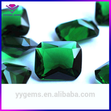 Wuzhou Gemstone Octangle Glass Stone Synthetic Emerald Green Glass Rough on Sale