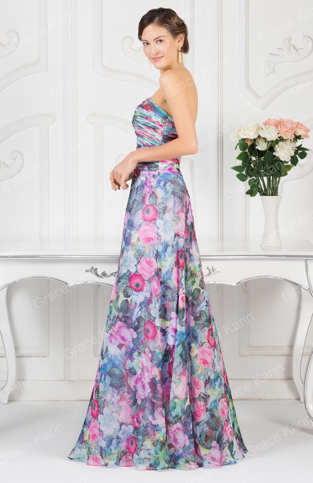 Grace Karin Newest Design Flower Evening Dress Patterns Ladies ...