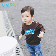 Q2-baby Bulk Buying New Fashion Infant Clothes Brown Plain Baby T Shirts