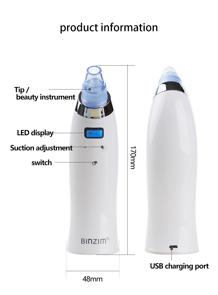 Blackhead Removal Machine Comedo Suction Microdermabrasion Diamond Device Rechargeable Vacuum Extraction Tool