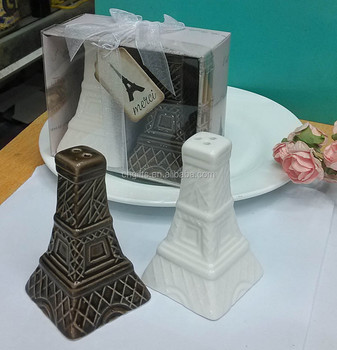 Newest Eiffel Tower Ceramic Salt and Pepper Shakers for Wedding Souvenirs