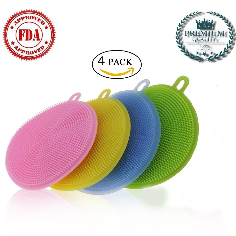 Silicone Scrubber Antibacterial Silicone Sponge | Silicone Dish Sponge | Kitchen Dish Cleaning | Multi-purpose Cleaning Kitchen Dish Brush | Food-Grade | (Yellow,Pink,Green,Blue)(4 pack)