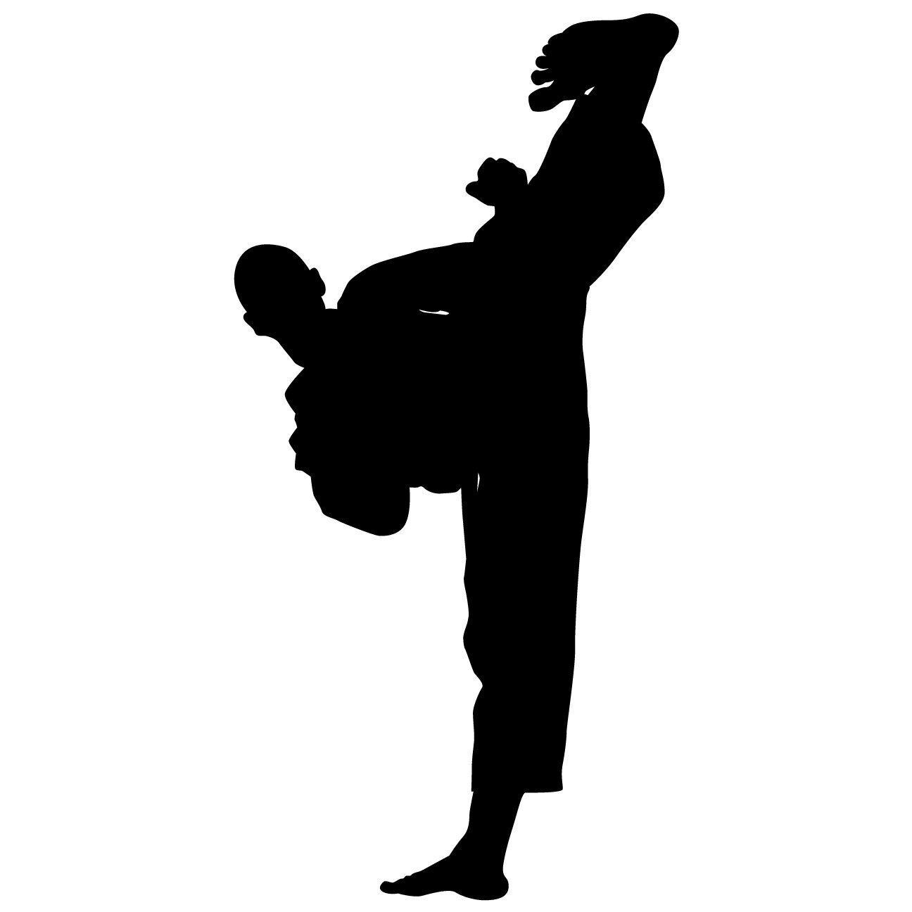 Martial Arts Wall Decal Sticker 43 - Decal Stickers and Mural for Kids Boys Girls Room and Bedroom. Karate Sport Wall Art for Home Decor and Decoration - Martial Art Kung Fu Taekwondo Silhouette Mural