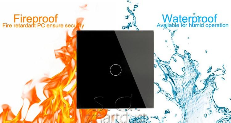 Smartdust Hot Sale Waterproof 2 Gang 2 Way Glass Panel