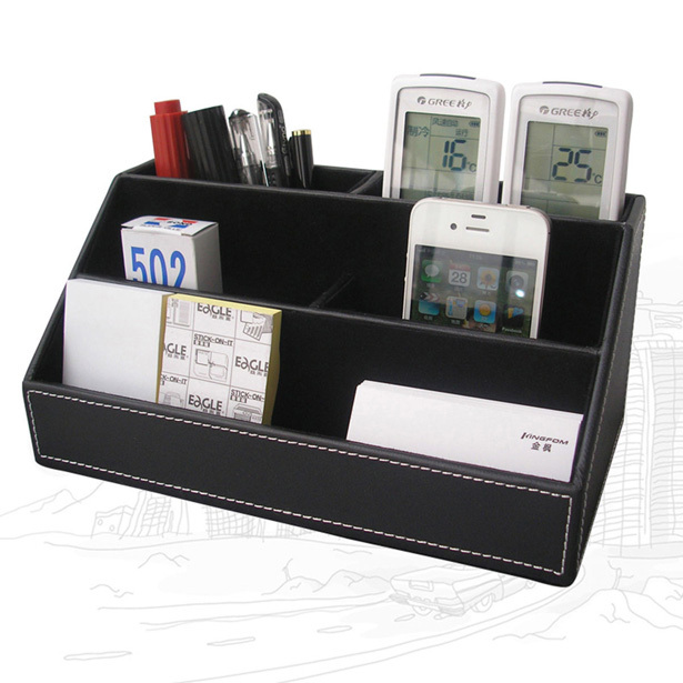 Home & Office Leather Desk Stationery Jewelry Makeup Storage Holder Container Remote Control Organizer Box Black A026