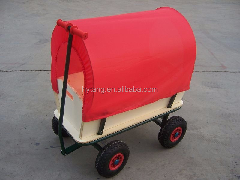 wooden garden cart with red roof TC1812M