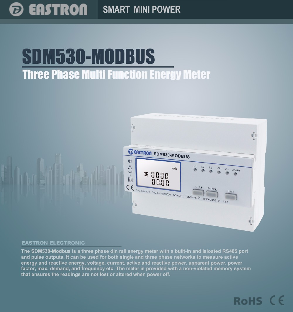 Sdm530modbus,Three Phase Four Wire Energy Meter,With Rs485 Modbus ...