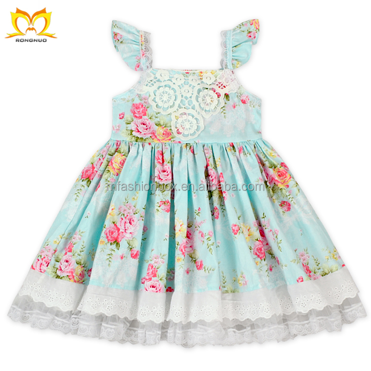 Sweet Girl Fashion Dress Fabric Flowers For Clothing Frock Design For Baby Girl