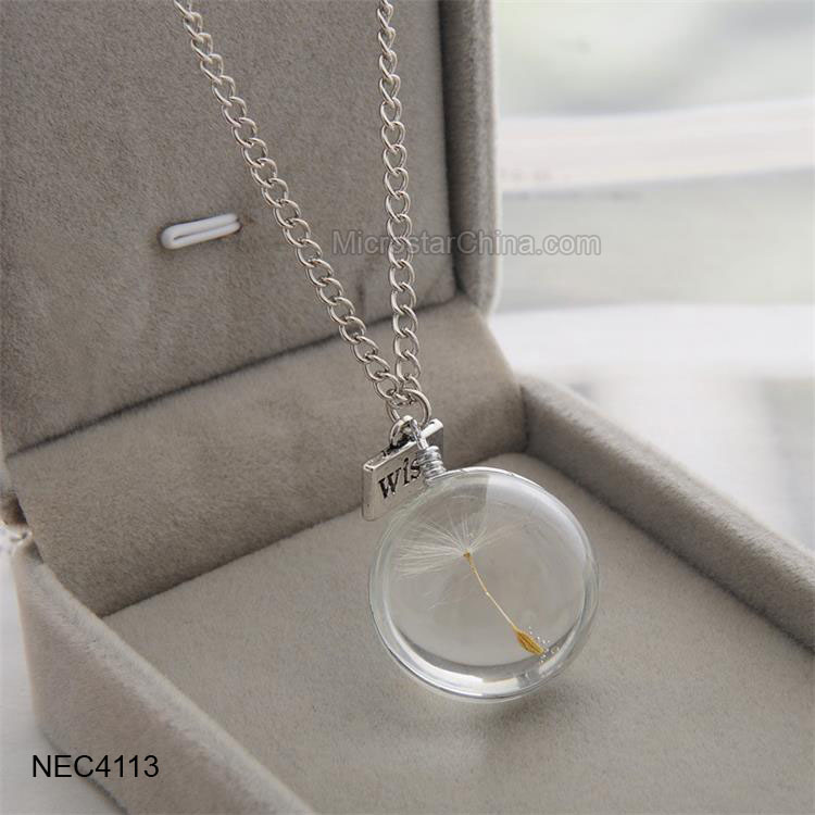 Love Glass Bottle Real Flower Jewelry Wish Charm Dandelion Seeds Necklace