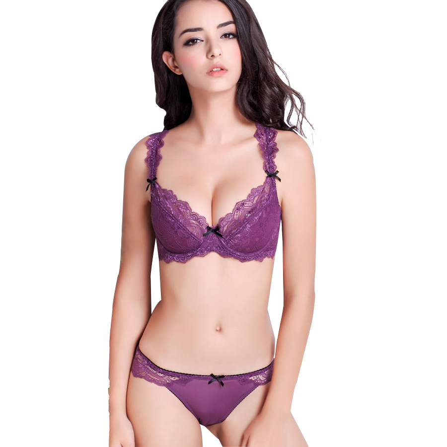 814eaa2aa57a1 Get Quotations · France brand underwear women bra set plus size sexy ultra-thin  transparent push up lace