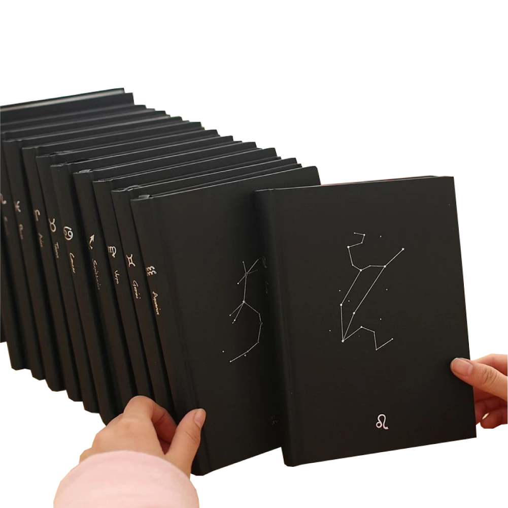 Creative note books custom logo hardcover waterproof notepad black cover constellation notebook happy planner daily gift journal