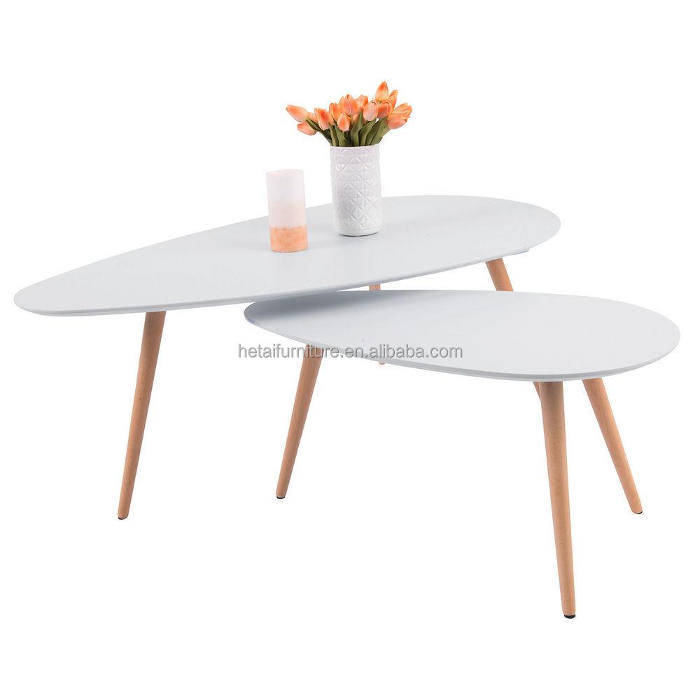 Mdf salontafel met 3 eiken houten poten, heldere kleur koffie ...