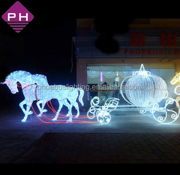 Led Lighted Horse Carriage For