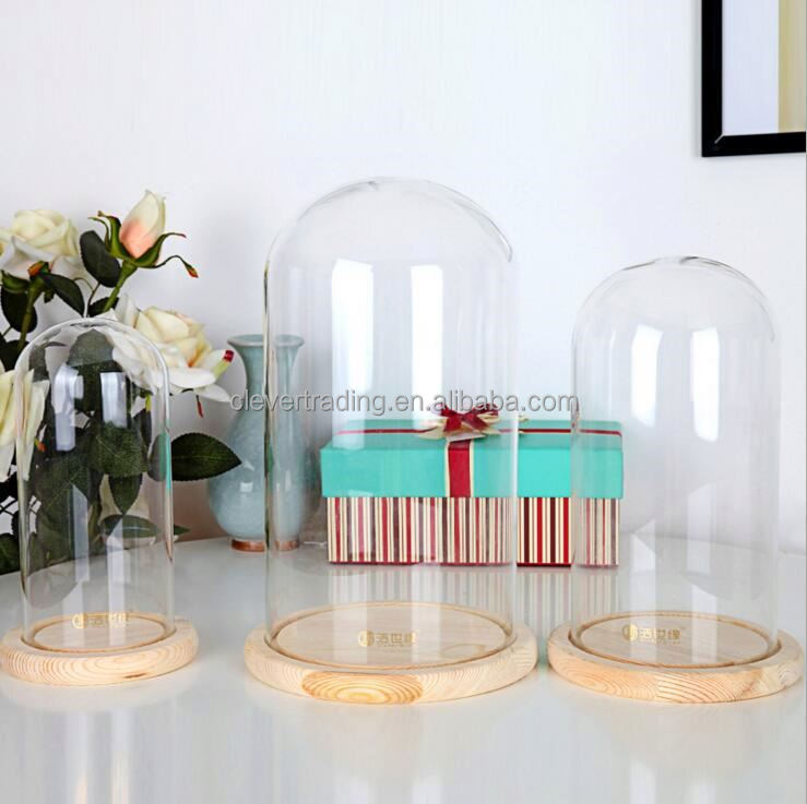 Customize Decorative Clear Glass Dome With Wooden Base