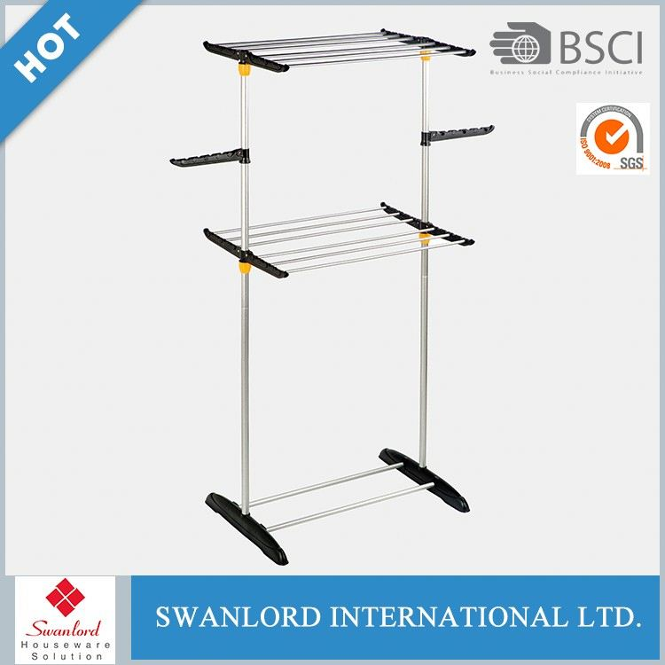 Two Poles Expandable Iron Garment Hanging Clothes Rack