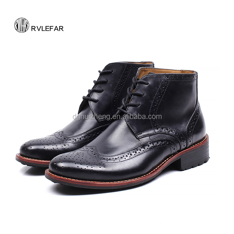 Retro Spring Lace-up Rubber Sole Men Dress Shoes Leather Sale Casual Oxford Shoes