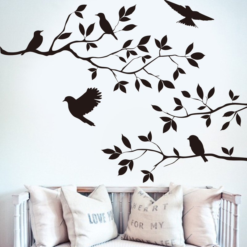 Bird In The Tree Home Decor Creative Wall Stickers Parede PVC Removable Decorative Home Decals Adesivo De Parede Wallpapers M007