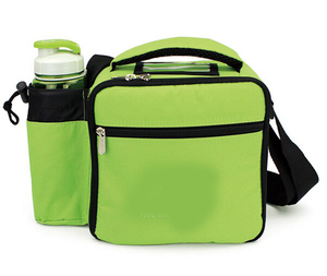 food grade 600D carrying lunch bag yiwu cooler bag factory with bottle holder on side