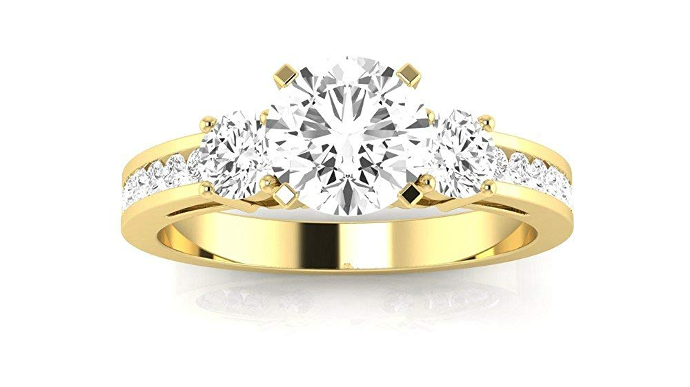1.05 Carat t.w. Round Channel Set 3 Three Stone Diamond Engagement Ring K VS1-VS2 Clarity Center Stones.