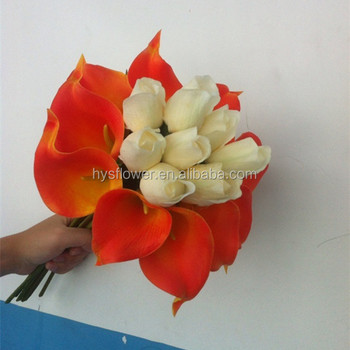 Latest Wedding Decorations Flower White Rose Bud And Red Calla Lily