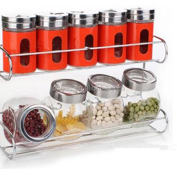 Amazon Supply Metal And Glass Food Spice Jar Set Kitchen Storage