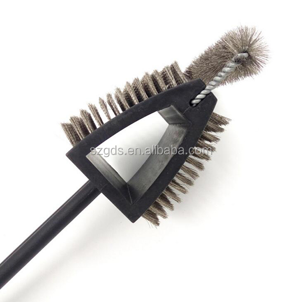 18'' Barbecue Grill Brush and Scraper Stainless Steel Bristles 3 sides grill cleaning brush with scraper