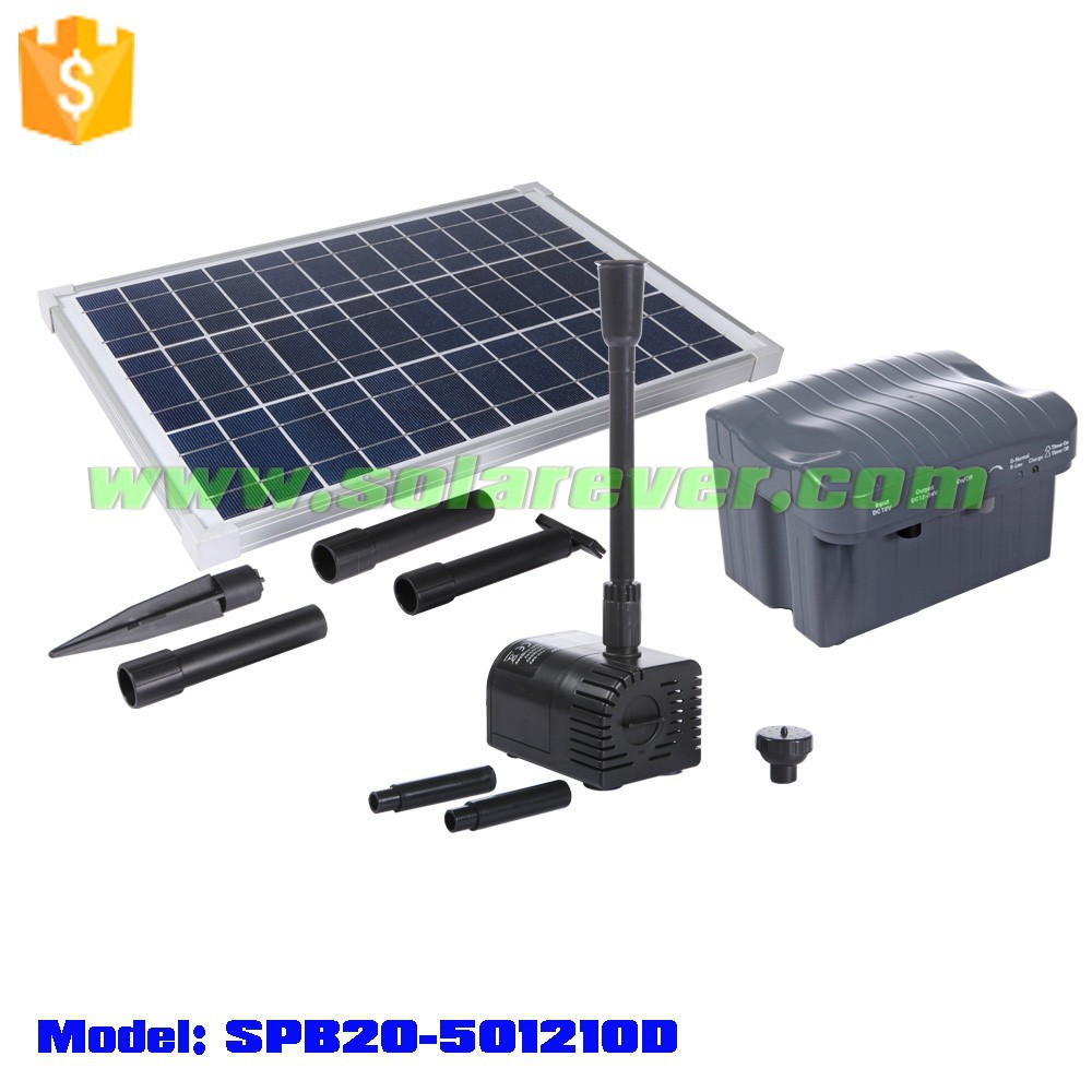 Pond fountain kit with solar powered dry run and locked rotor protected premium water pump (SPB20-501210D)