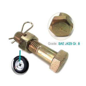 Yellow zinc plated SAE J429 grade 8 Wheel hex bolt with hex slot nut and R pin