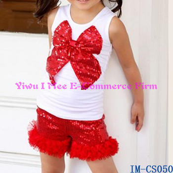 19c0ed8c0898 Boutique Baby Girls 4th July Outfit Kids Sequin Ruffled Shorts Sets IM-CS050