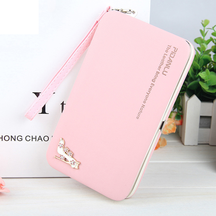 Factory Wholesale Fashion Pink PU Leather Mobile Phone Case Long Clutch Wallet Ladies Hand Purse