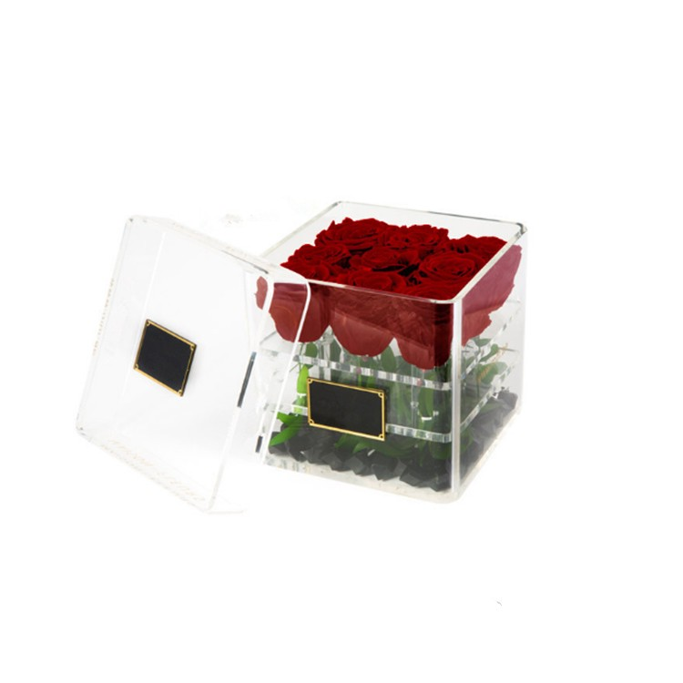 wholesale acrylic flower box, acrylic flower box with lid