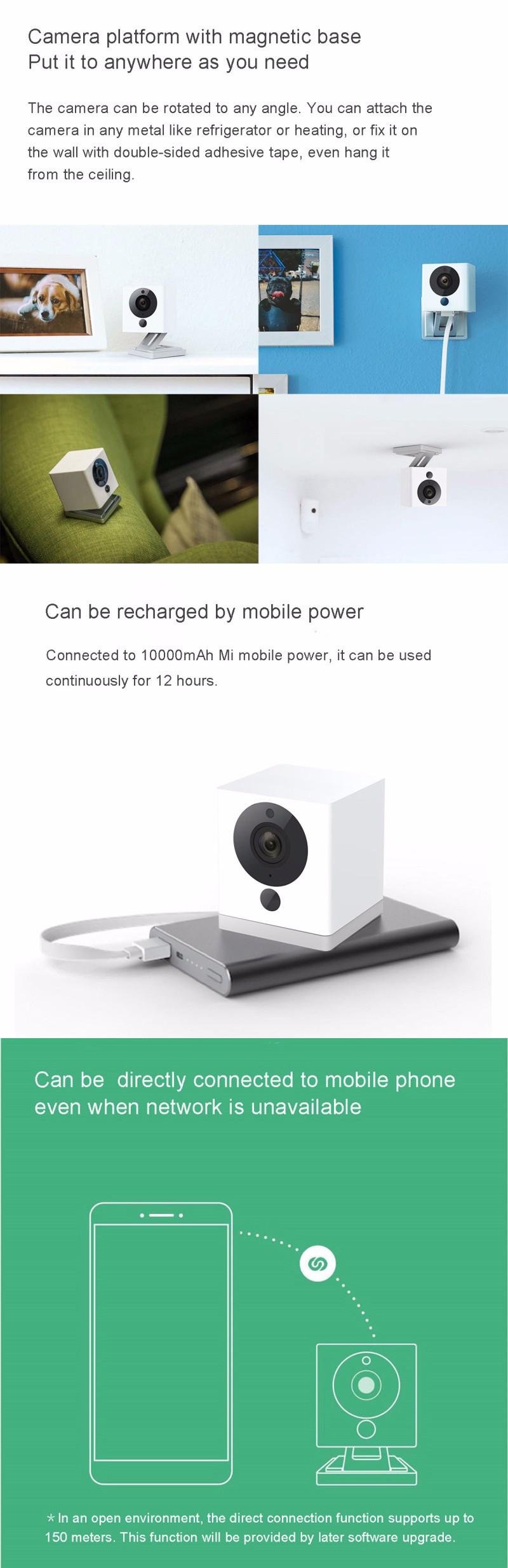 Original Xiaomi Xiaofang Portable Smart Ip Camera Night Vision 9m Wifi Cctv 1080p With F20 Large Aperture