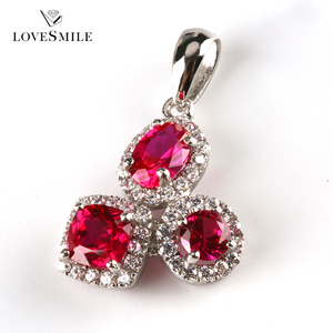 cheap fashion jewelry made in china S925 jewelry ruby synthetic gem stones heart pendant necklace