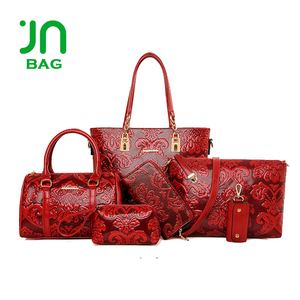 China wholesale fashion leather set bags italian shoes and bag set