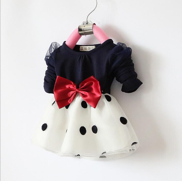 2015 новорожденных девочка платье детей девушки бантом с рукавами платье принцессы мода девочка одежды