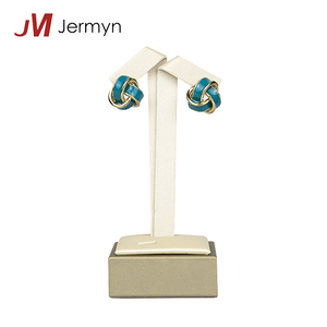 Elegant Custom white leather earring display stands jewelry hanger