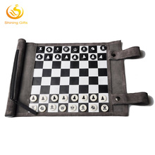 Custom Roll Up Boards Game Chess Checkers Leather Set Travel Size wholesale