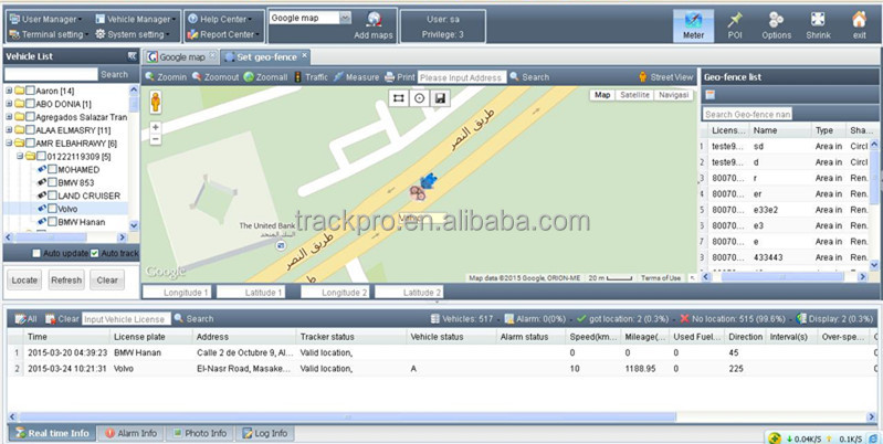 Vehicle fleet mobile tracking software imei number tracking location system