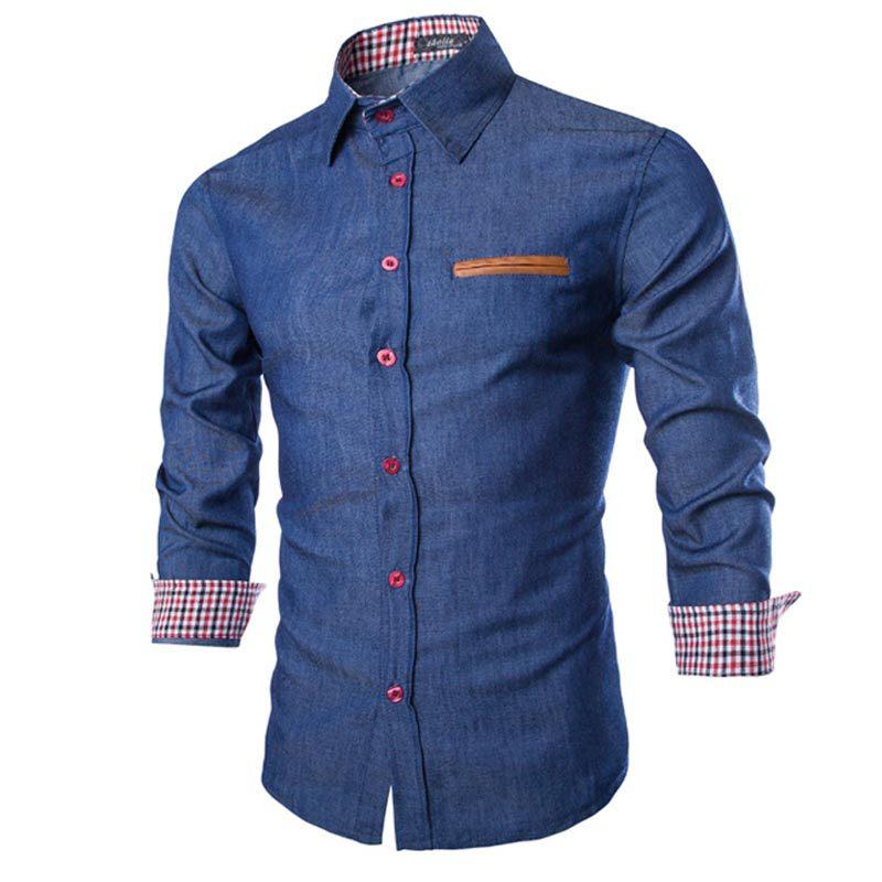 9d48ed0a069 Brand Denim Shirts 2015 Autumn Fashion Blue Men Shirt Long Sleeve Chemise  Homme Casual Design Mens Slim Fit Jean Shirts Camisas