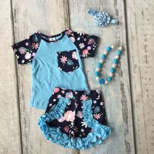 baby girls Summer clothing girls cotton floral outfits children royal floral ruffle shorts clothes kids outfits with accessories