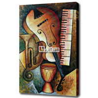 Painted canvas music instrument painting
