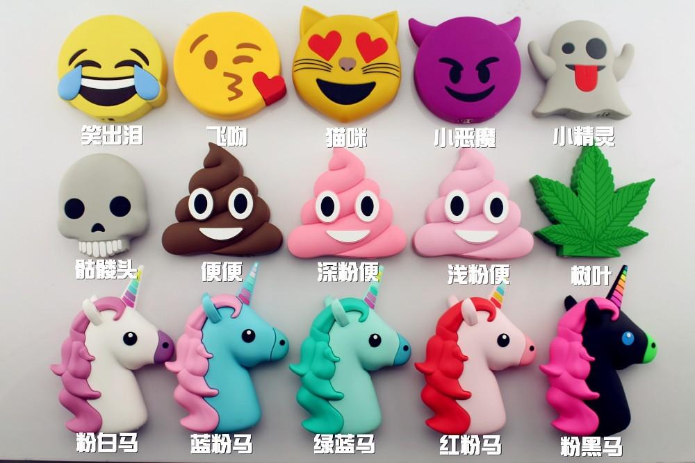 Mignon Portable Externe Batterie Licorne Puissance Banque Emoji