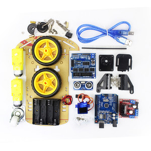 electronic motor intelligent robot car chassis kit speed encoder battery box 2WD ultrasonic module Diy kit