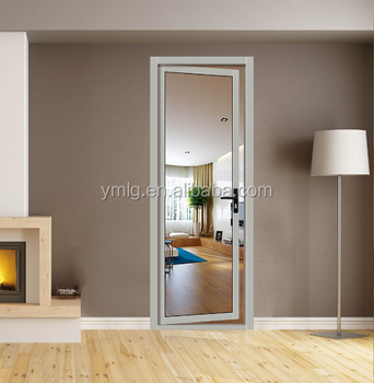 Soundproof Aluminum Frame Single Swing Glass Room Door With Low Price