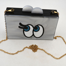 wholesale elegant ladies acrylic clutch evening eyes box hand bag