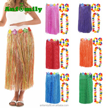 Hawaiian Party Girl Kit Beach Party Lei Artificial Grass Long Raffia Hula Skirt With Flowers Outfit