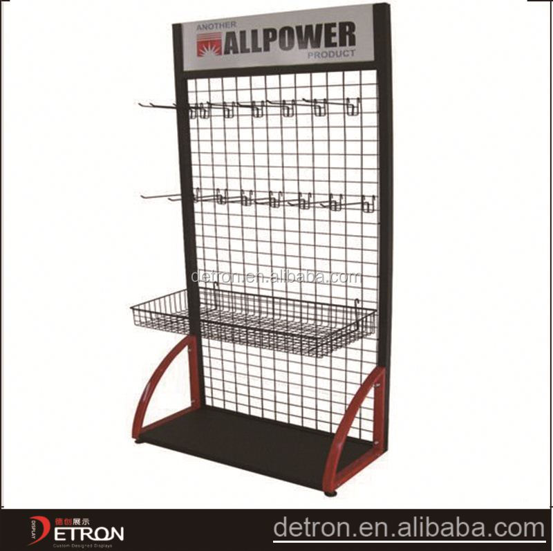 large capacity hot sale grid pannel display stand with hooks