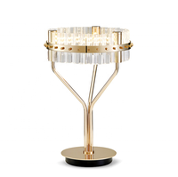 modern decoration bronze crystal dressing table mirror with led lights indoor bedside wedding reading desk lamp