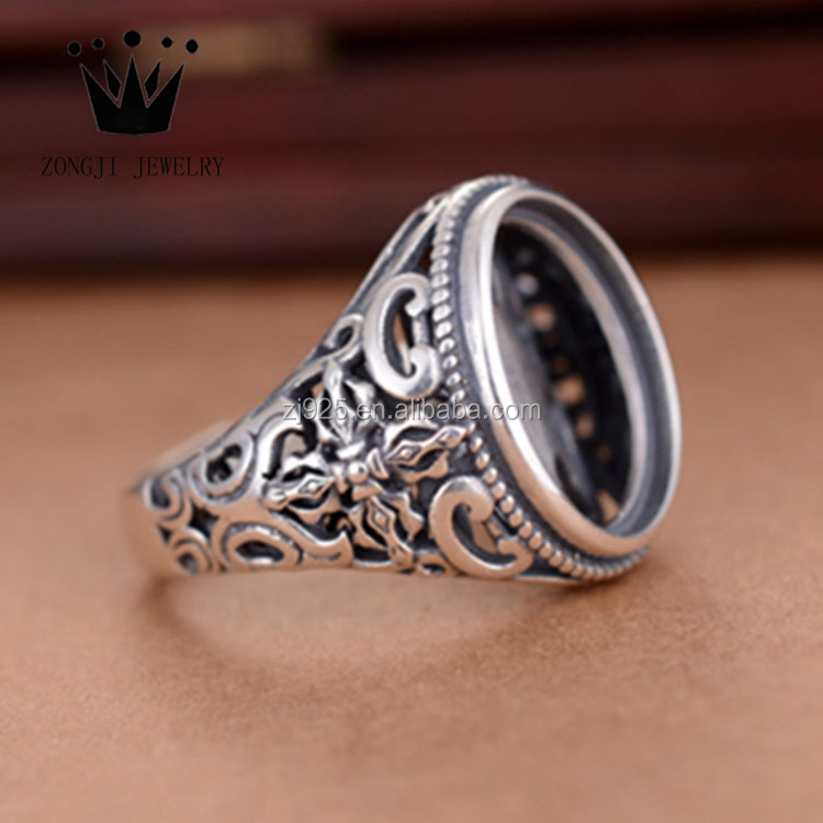 Hot Selling 925 Sterling Silver Jewelry Prayer Cross Shape Of Blank Ring Settings