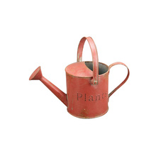 Indoor and outdoor garden decorative painted antique style tall round metal tin flower watering can wholesale